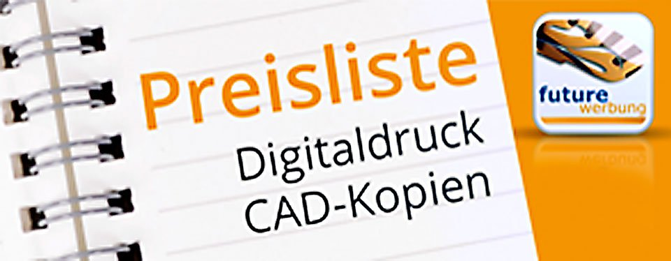Einfach mal mehr machenHier finden Sie unsere aktuelle Preisliste zu Digitaldrucken auf verschiedenen Maschinen von DIN A3 - DIN A0 Plakaten oder CAD-Zeichnungen. Für Anfragen zu Überformaten und Digitaldruckfolien für Werbeschilder oder Fahrzeugbeschriftungen, bitten wir Sie direkt Kontak mit uns aufzunehmen.