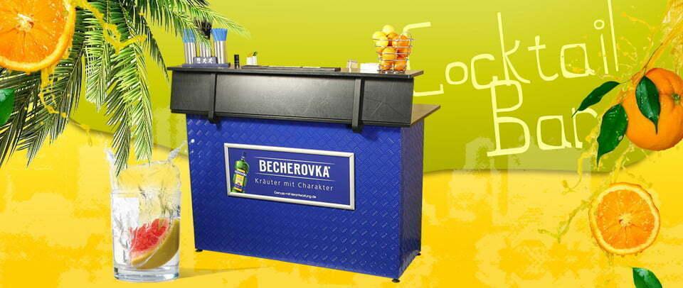 mobile Cocktailbar in Ihrem CI Promotionbar Future Werbeagentur Chemnitz