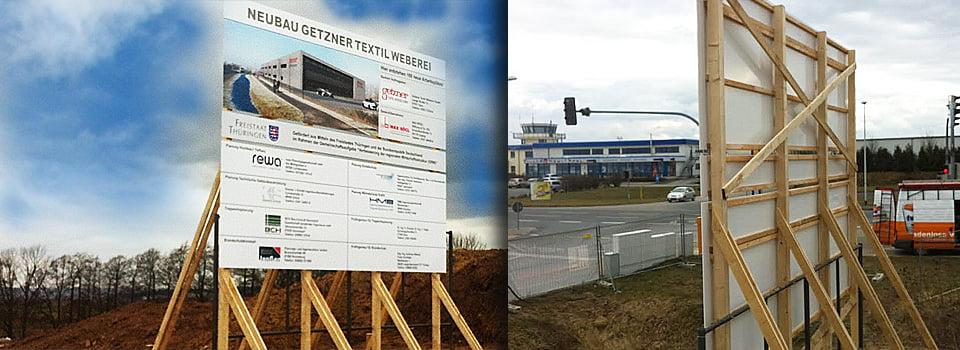 max-boegel-getzner-weberei Future Werbeagentur Chemnitz stellt Bautafel